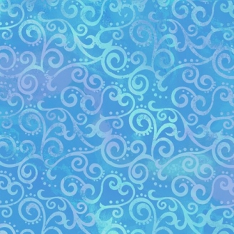 Tissu patchwork faux-uni Arabesque Bleu Océan - Ombre Scroll