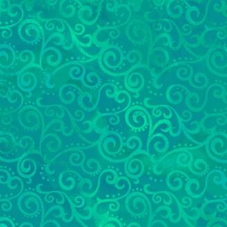 Tissu patchwork faux-uni Arabesque Vert Jade - Ombre Scroll