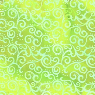 Tissu patchwork faux-uni Arabesque Vert Lime - Ombre Scroll
