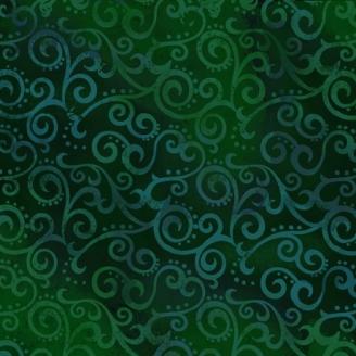 Tissu patchwork faux-uni Arabesque Vert Forêt - Ombre Scroll