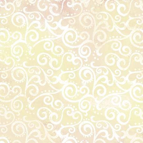 Tissu patchwork faux-uni Arabesque Ecru - Ombre Scroll