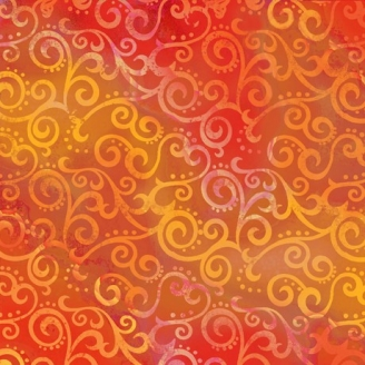 Tissu patchwork faux-uni Arabesque Orange Agrume - Ombre Scroll