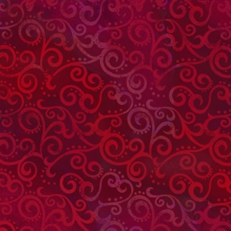 Tissu patchwork faux-uni Arabesque Rouge Ruby - Ombre Scroll