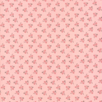 Tissu patchwork duo de fleurs fond rose patiné - Jardin de Versailles de French General