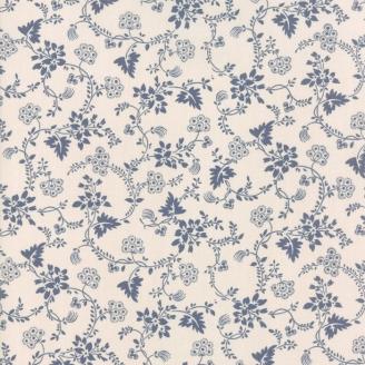 Tissu patchwork classique lianes fleuries bleues fond écru - Regency de Moda