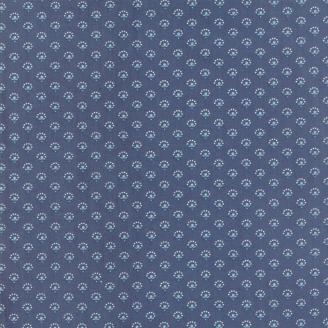 Tissu patchwork classique petites fleurs ton-sur-ton bleu denim - Regency Blues de Moda