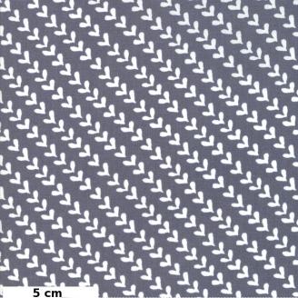 Tissu patchwork coeurs blancs fond gris - Harmony de Moda