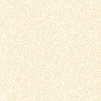 Tissu patchwork feuillage écru effet perlé