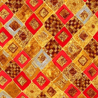 Tissu Gustav Klimt damier rouge ocre doré