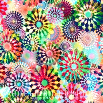 Tissu impression numérique fleurs kaléidoscopes