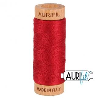 Fil de coton Mako 80 Aurifil - Rouge Cerise 2260