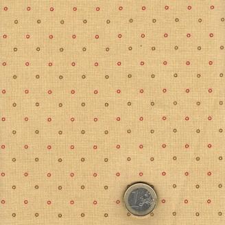 Tissu patchwork minis cercles rouges et bruns fond beige - New Hope de Jo Morton