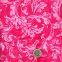 Tissu batik feuilles arabesques roses