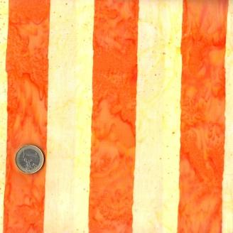 Tissu batik Kaffe Fassett - larges rayures orangeset jaunes - Artisan