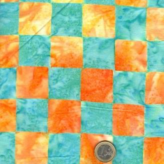 Tissu batik Kaffe Fassett - damier orange et bleu - Artisan