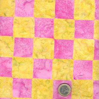 Tissu batik Kaffe Fassett - damier rose et jaune/vert - Artisan