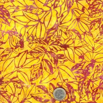 Tissu batik feuilles feuilles fuchsia fond jaune soleil