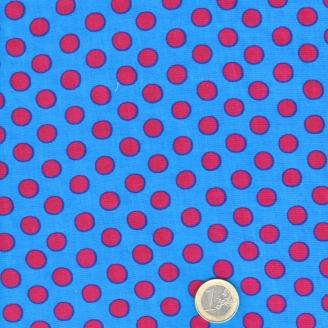 Tissu Kaffe Fassett à pois grenat fond bleu (Spot GP70)