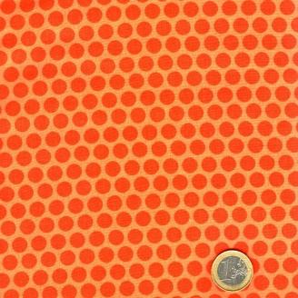 Tissu patchwork pois orange ton sur ton