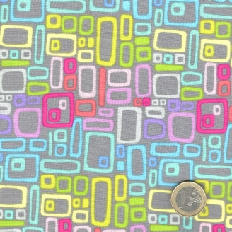 Tissu patchwork rectangles multicolores fond gris