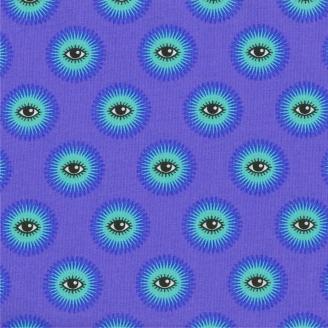 Tissu patchwork Tula Pink yeux fond mauve I see you Haunted - De La Luna