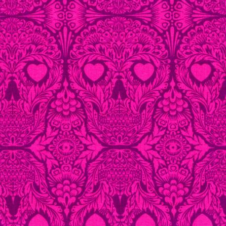 Tissu patchwork Tula Pink Crânes violine Sugar Skulls - De La Luna