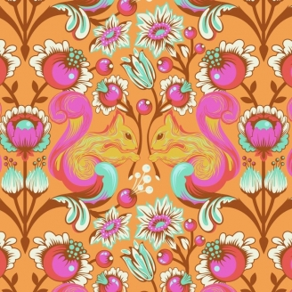 Tissu patchwork Tula Pink écureuil orange Begonia - All Stars