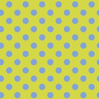 Tissu patchwork Tula Pink pois bleus fond anis Myrtle - All Stars