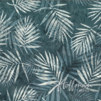 Tissu batik palmes écrues fond gris acier