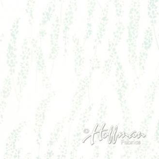 Tissu batik feuilles d'élodée grises fond blanc