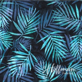 Tissu batik turquoise/mauve fond marine