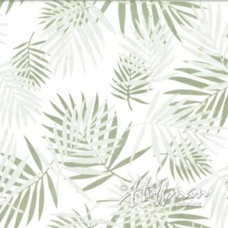 Tissu batik palmes beiges fond écru