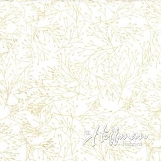 Tissu batik branchages fond écru