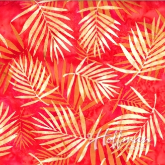 Tissu batik palmes beiges fond rouge