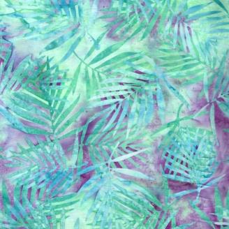 Tissu batik palmes violine et vert d'eau