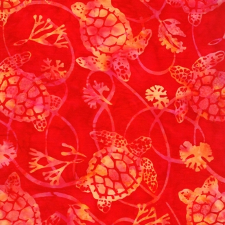 Tissu batik tortues fond rouge passion