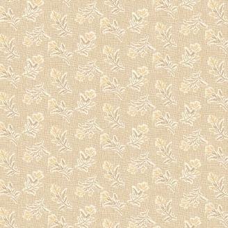 Tissu pacthwork branchages fond beige quadrillé - Something Blue d'Edyta Sitar