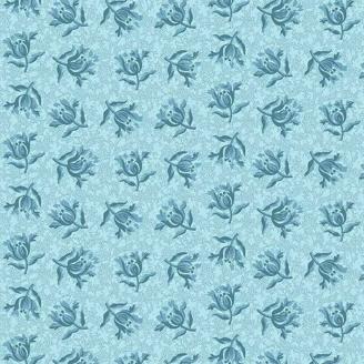 Tissu pacthwork fleurs bleues ton sur ton - Something Blue d'Edyta Sitar