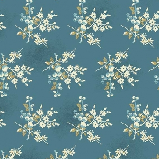 Tissu pacthwork fleurs et baies fond bleu jean - Something Blue d'Edyta Sitar