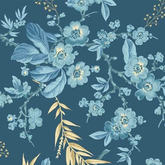 Tissu pacthwork bouquet floral fond bleu jean - Something Blue d'Edyta Sitar