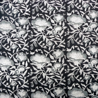 Toile de coton imprimée au tampon - Fleurs grises fond noir