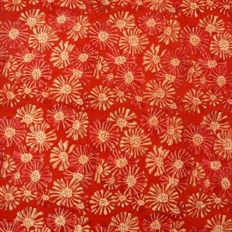 Toile de coton imprimée au tampon - Rouge à fleurs
