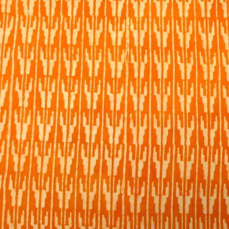 Toile de coton imprimée au tampon - Motif géométrique orange