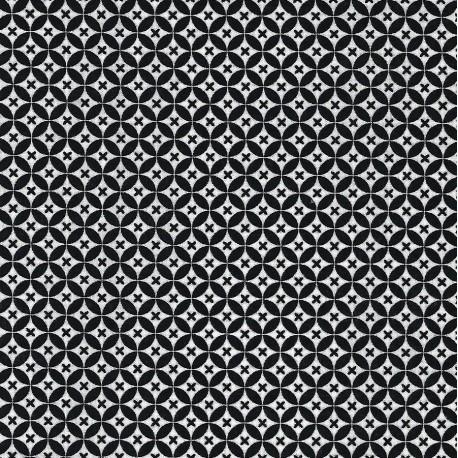 Tissu patchwork cercles en noir et blanc