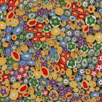 Tissu Gustav Klimt Millefiori multicolore doré