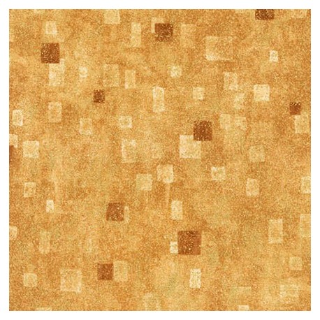 Tissu Gustav Klimt rectangles fond beige doré