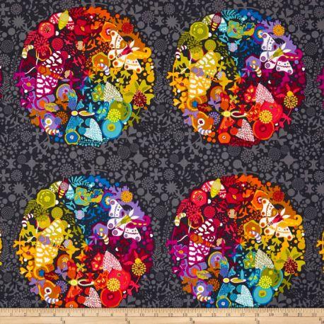 Tissu patchwork sphères Ex-Libris multico fond gris foncé - Alison Glass (30 cm x 110 cm)