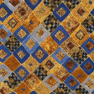 Tissu Gustav Klimt damier bleu ocre doré