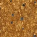 Tissu Gustav Klimt rectangles noires fond doré foncé
