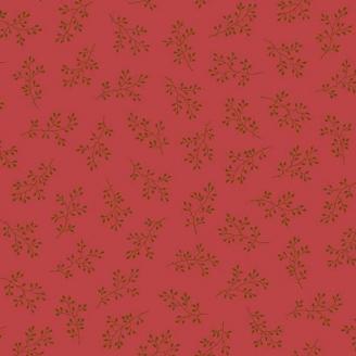 Tissu pacthwork branchages fond rouge anglais - Little Sweetheart d'Edyta Sitar